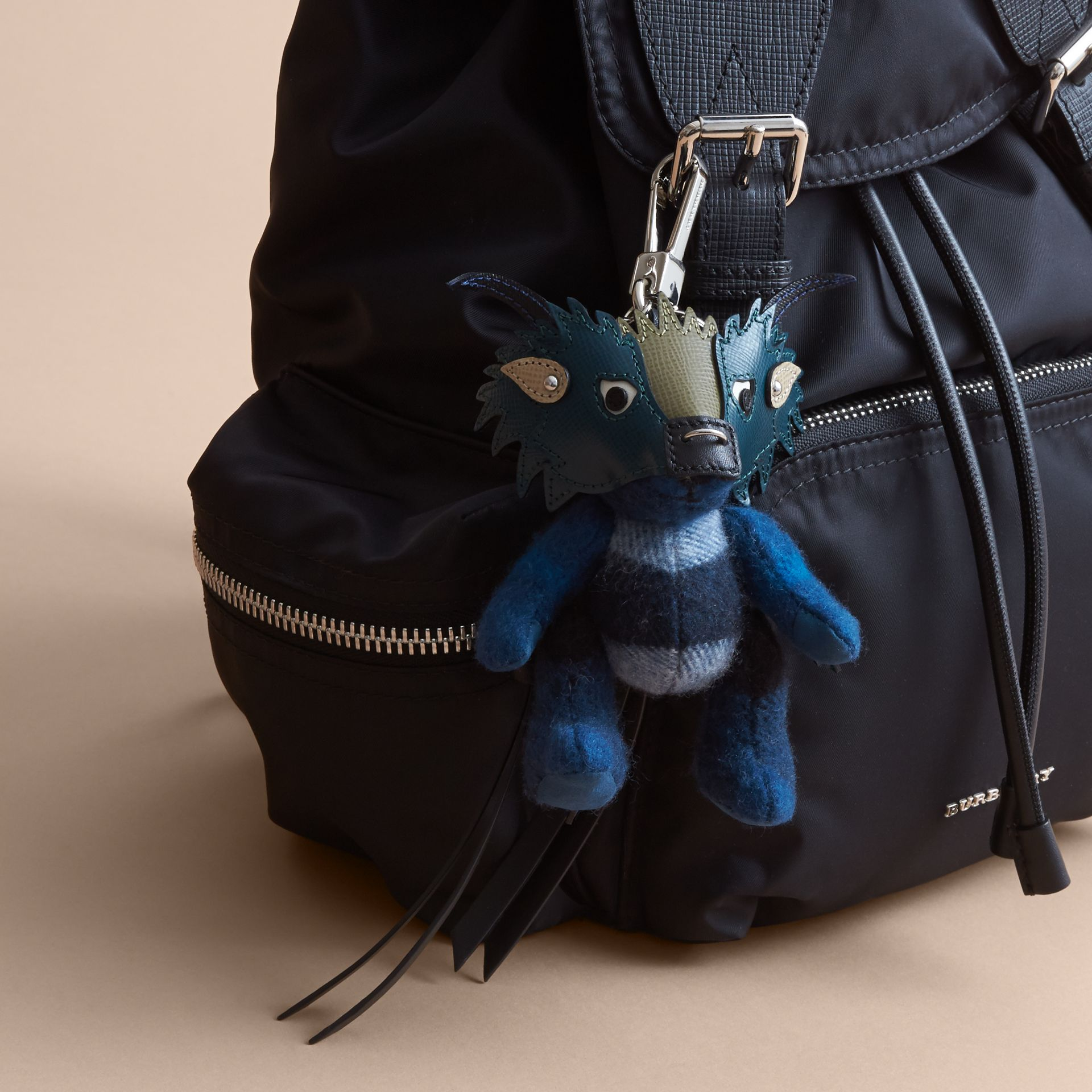 Thomas Bear Charm in Check Cashmere with Beasts Detail in Marine Blue - Men | Burberry - gallery image 3