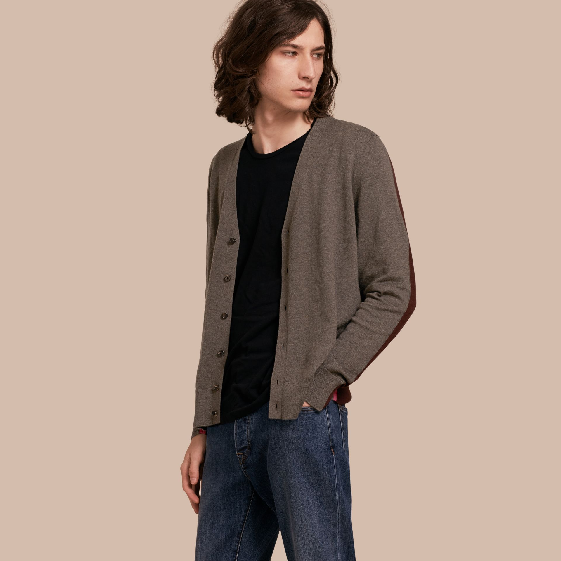 Mink grey Colour Block Cashmere Cotton Cardigan - gallery image 1