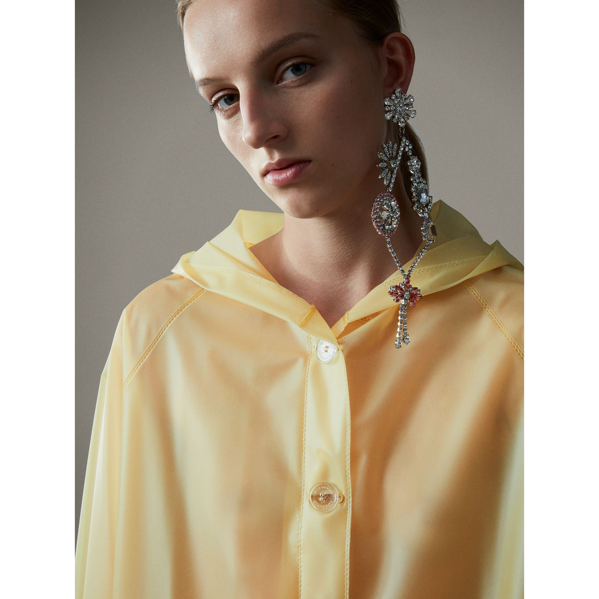 Soft-touch Plastic Hooded Car Coat in Antique Yellow - Women | Burberry - gallery image 2
