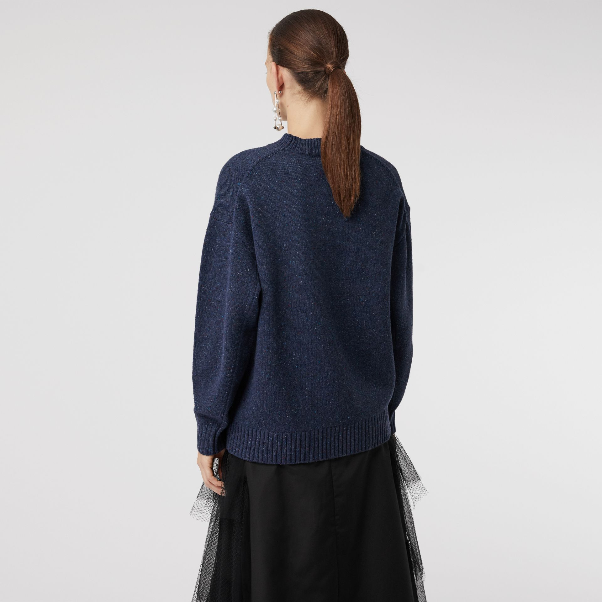 Crystal-embellished Merino Wool Sweater in Sapphire Blue - Women | Burberry - gallery image 2