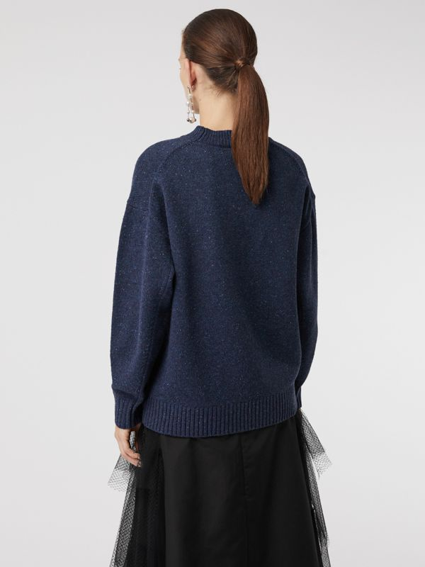 Crystal-embellished Merino Wool Sweater in Sapphire Blue - Women | Burberry - cell image 2