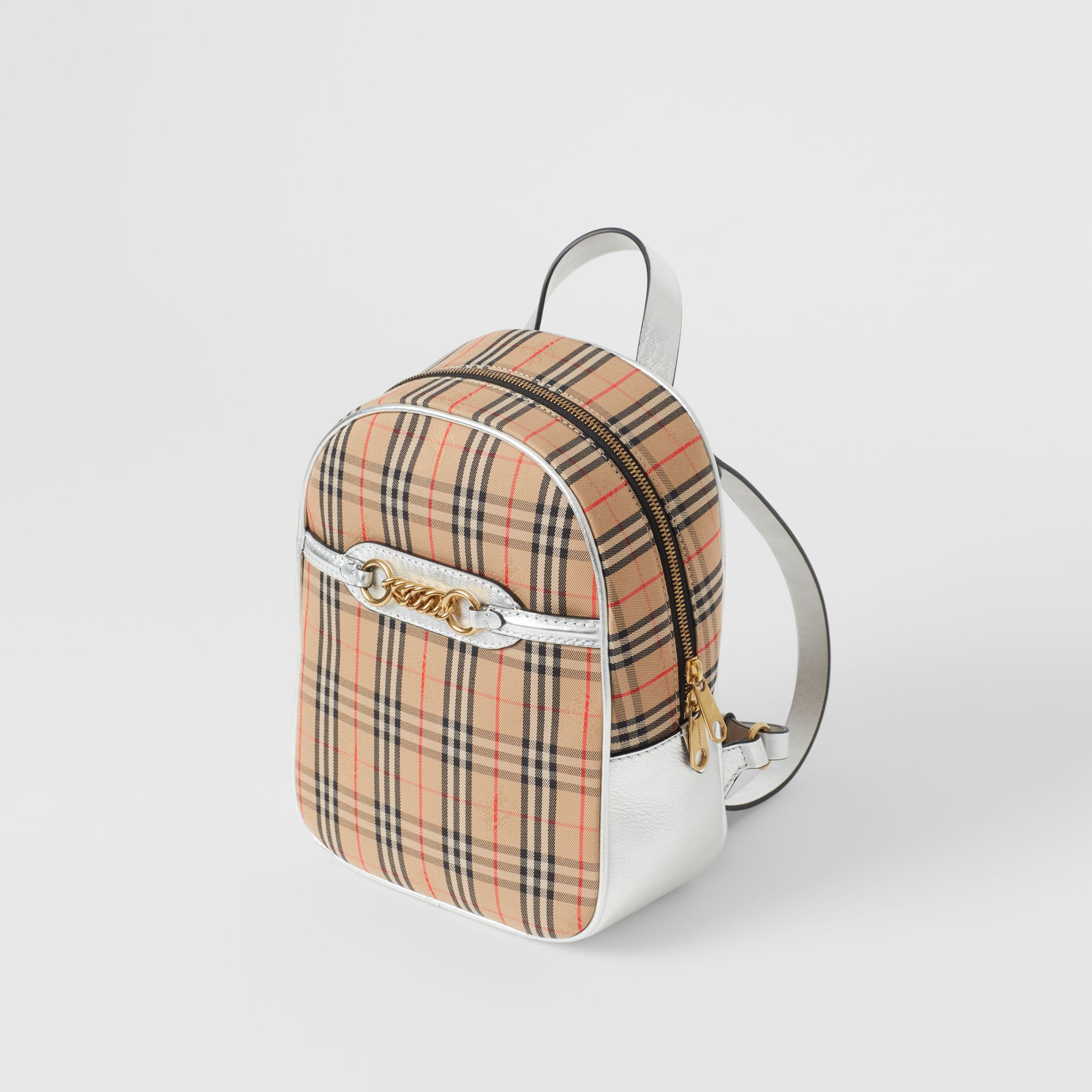The 1983 Check Link Backpack in Silver - Women | Burberry - gallery image 2
