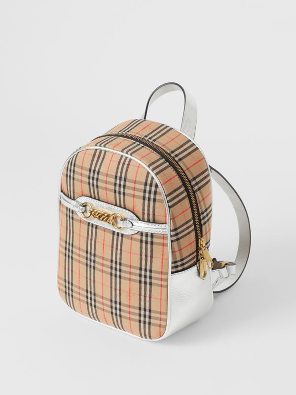The 1983 Check Link Backpack in Silver - Women | Burberry - cell image 3