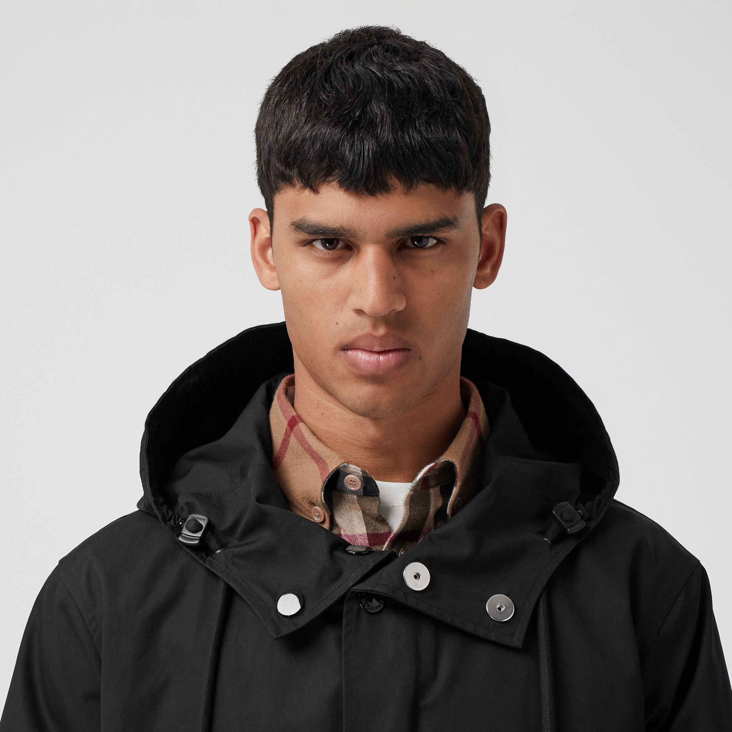 Logo Appliqué Cotton Hooded Coat in Black - Men | Burberry - 2