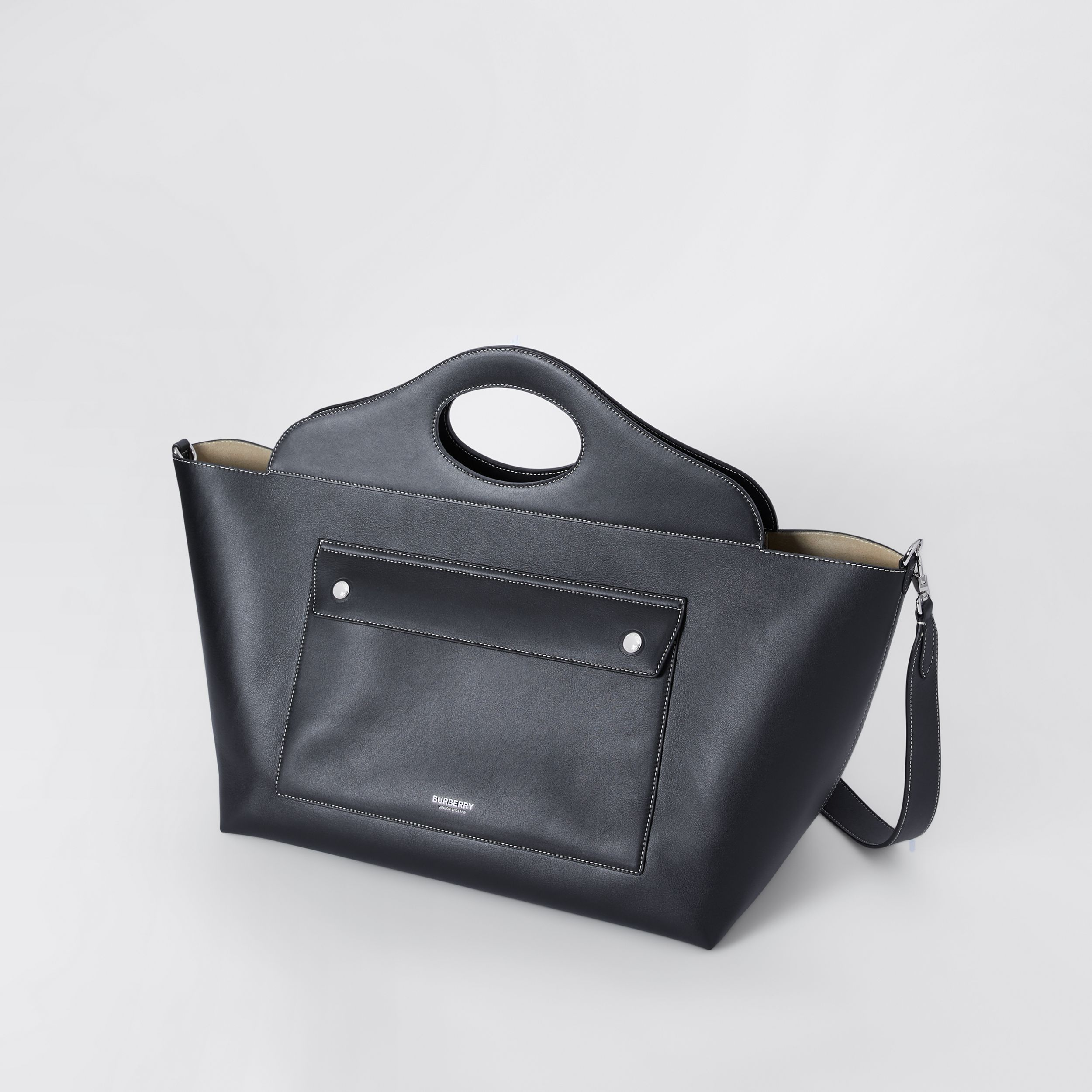 Medium Leather Soft Pocket Tote in Black - Women | Burberry United Kingdom - 4