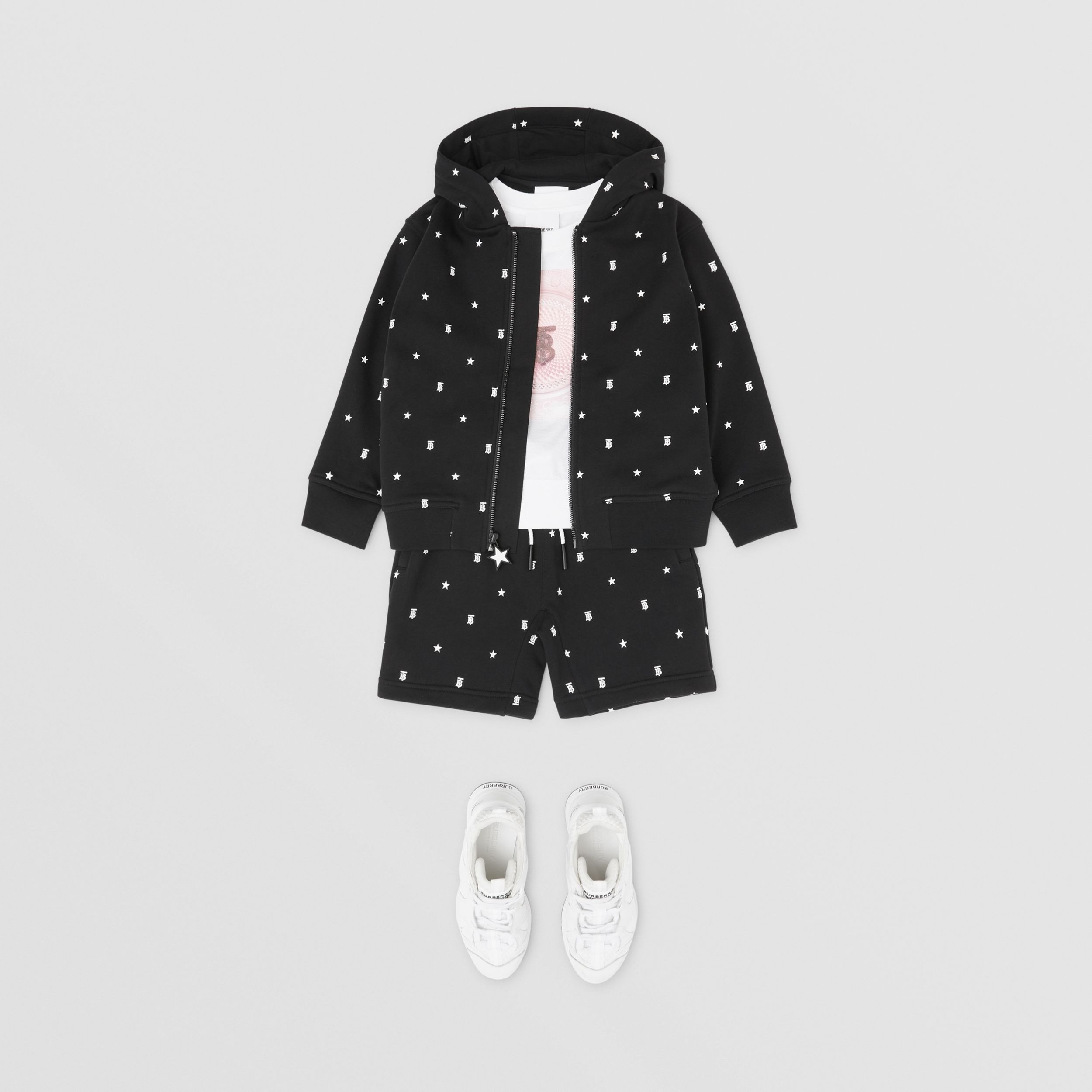 Star and Monogram Motif Cotton Hooded Top in Black | Burberry - 4