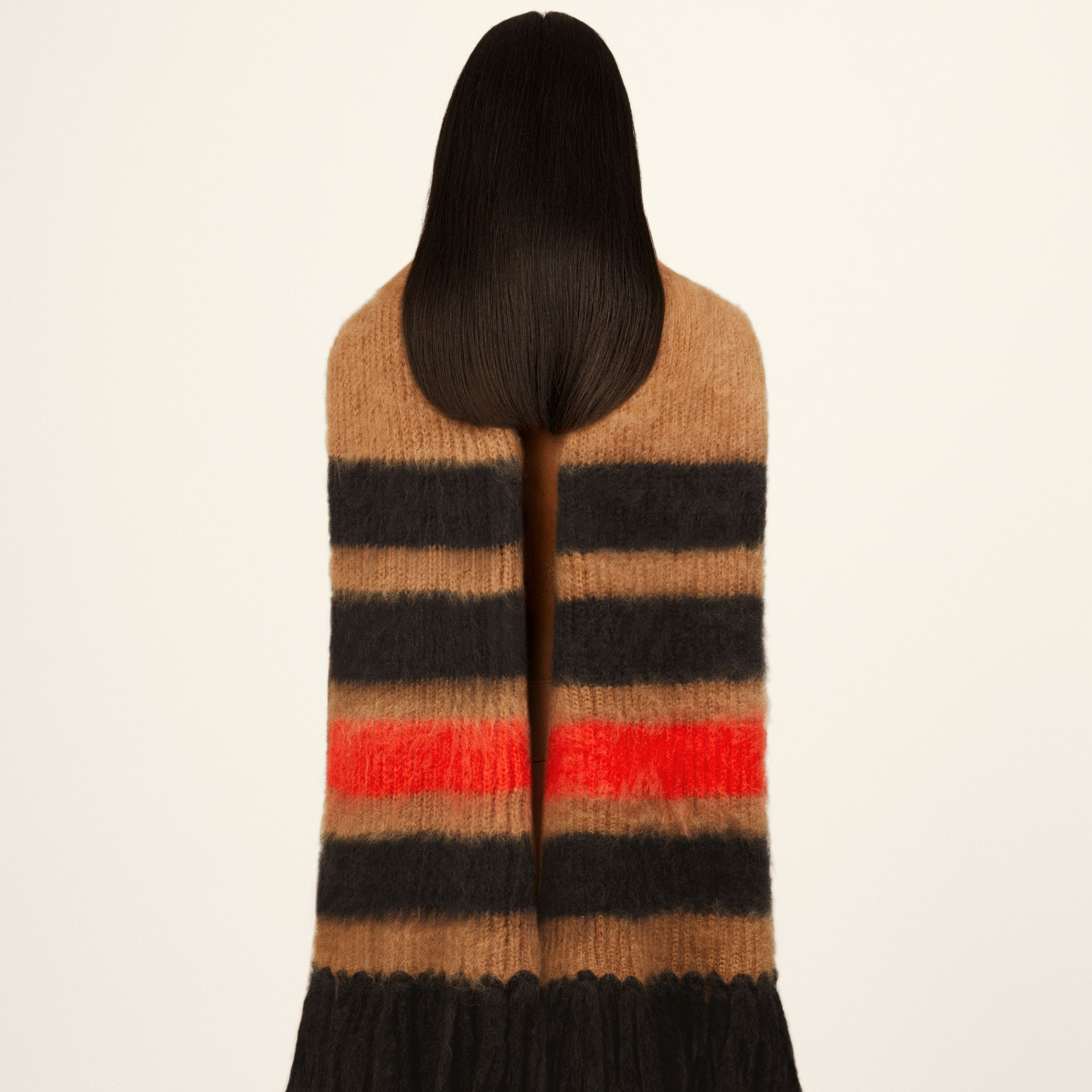 Striped Knitted Mohair Silk Scarf in Warm Camel | Burberry Australia - 2