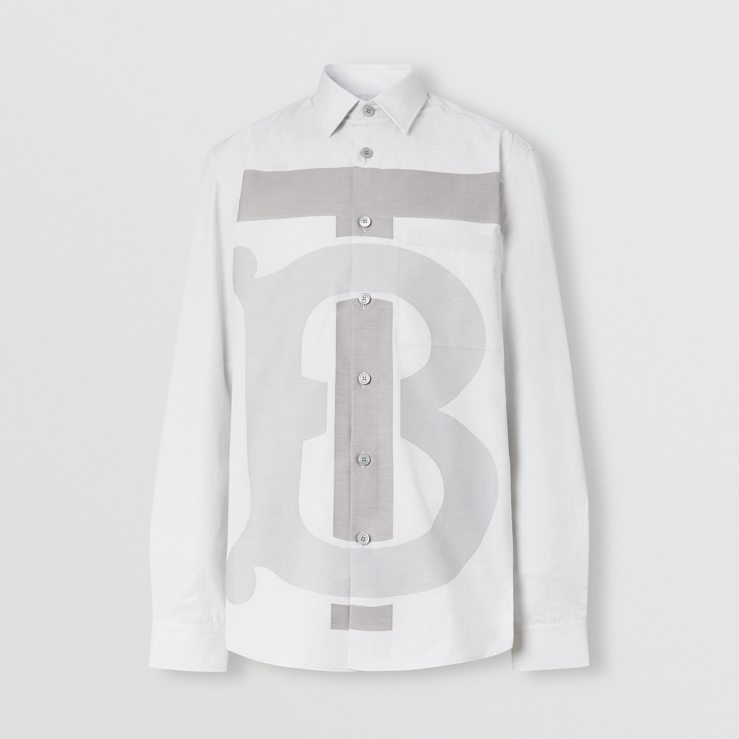 Slim Fit Monogram Motif Cotton Shirt in Pebble Grey - Men | Burberry - 4