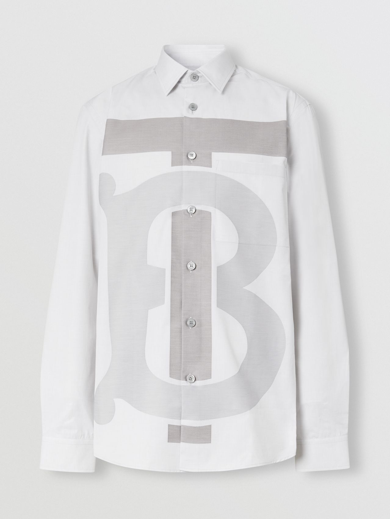 Slim Fit Monogram Motif Cotton Shirt in Pebble Grey