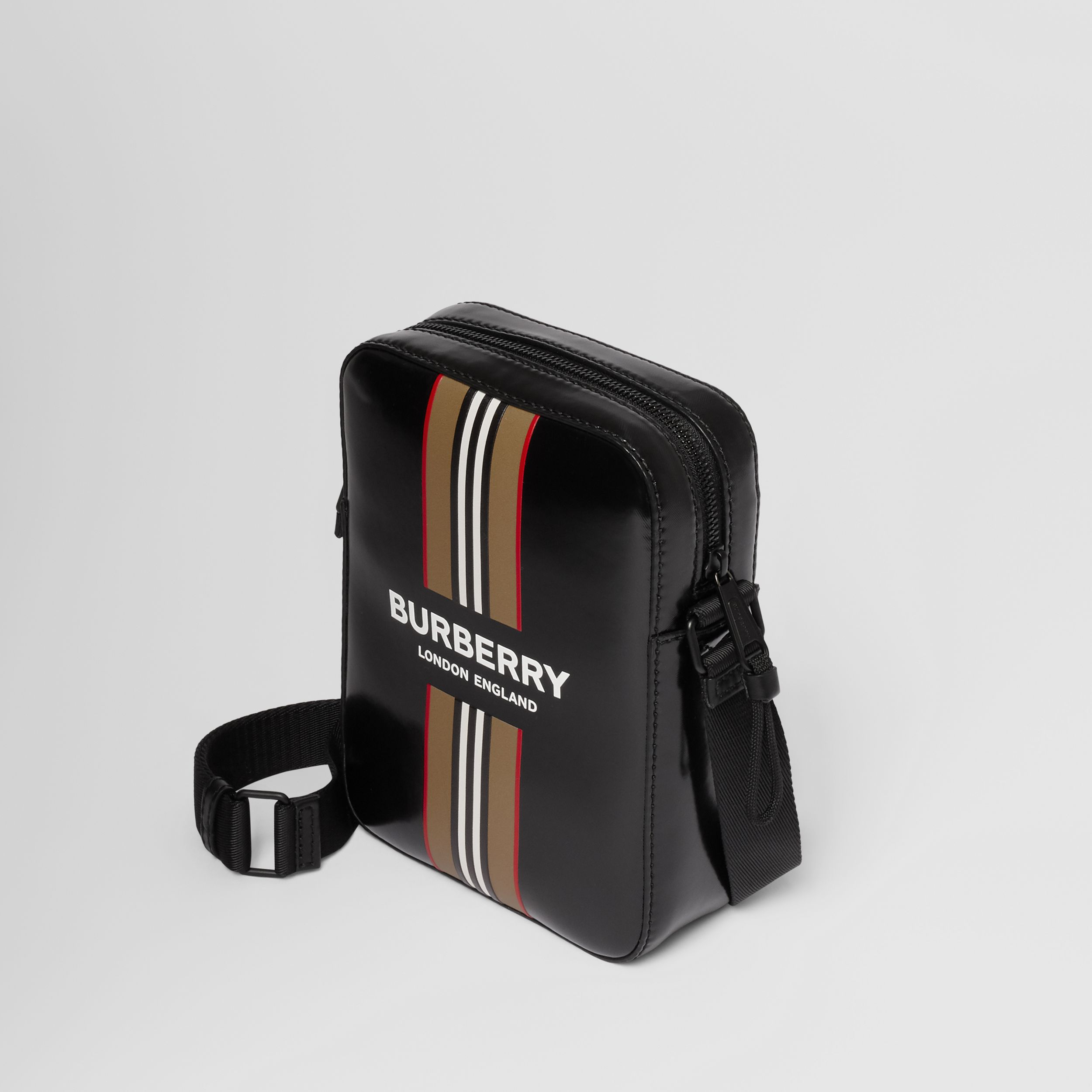 Logo and Icon Stripe Print Crossbody Bag in Black - Men | Burberry - 4