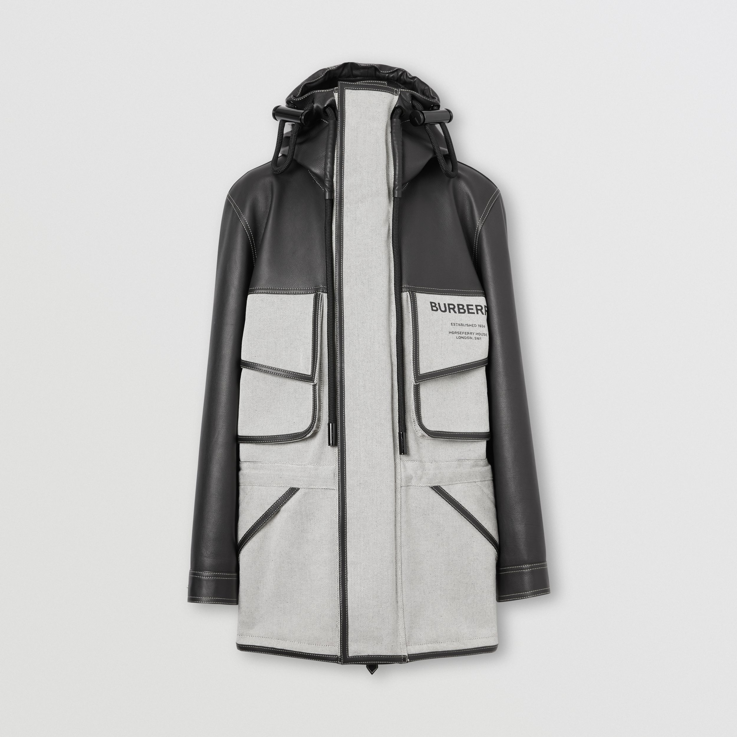 Horseferry Print Leather and Canvas Panelled Parka in Black - Men | Burberry - 4