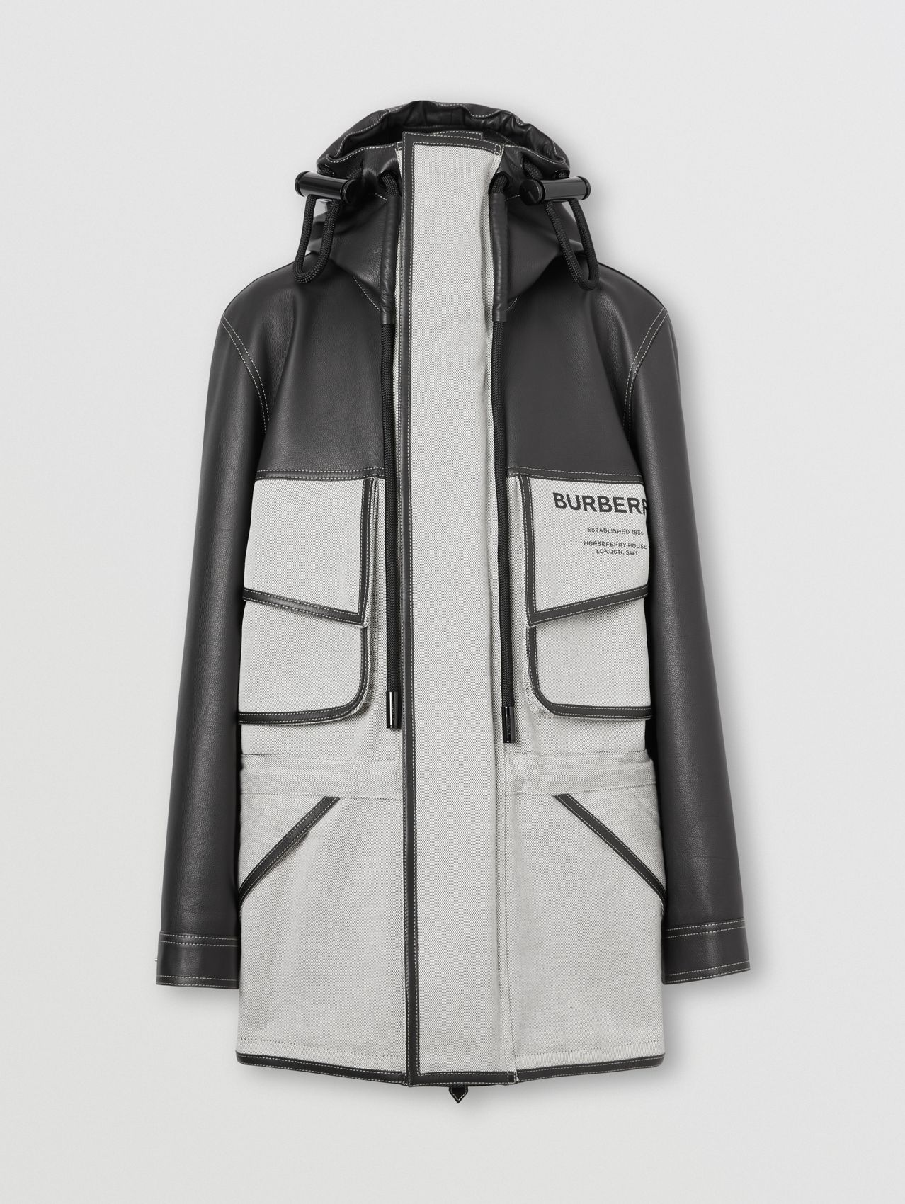 Horseferry Print Leather and Canvas Panelled Parka in Black