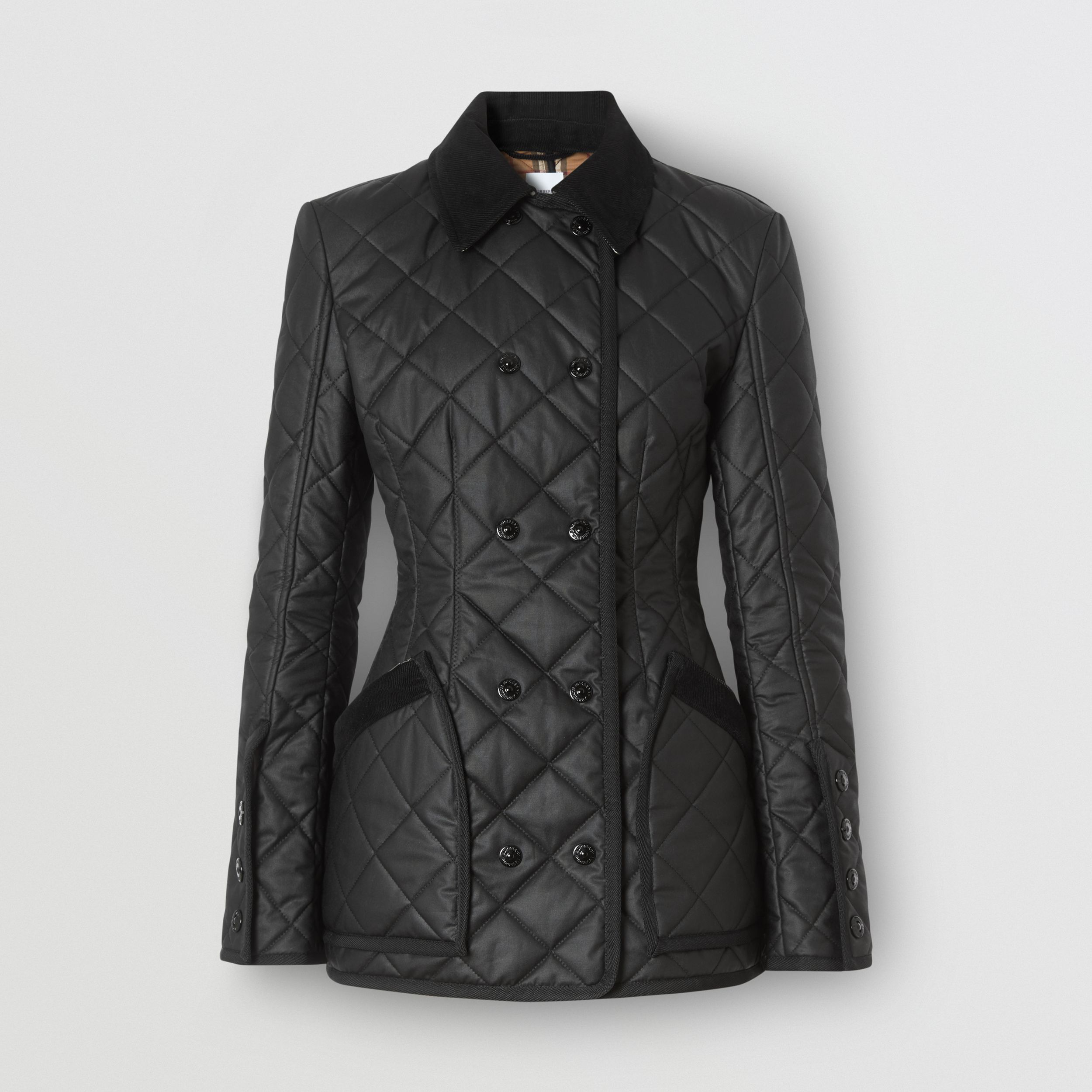 Diamond Quilted Waxed Cotton Riding Jacket in Black - Women | Burberry - 4