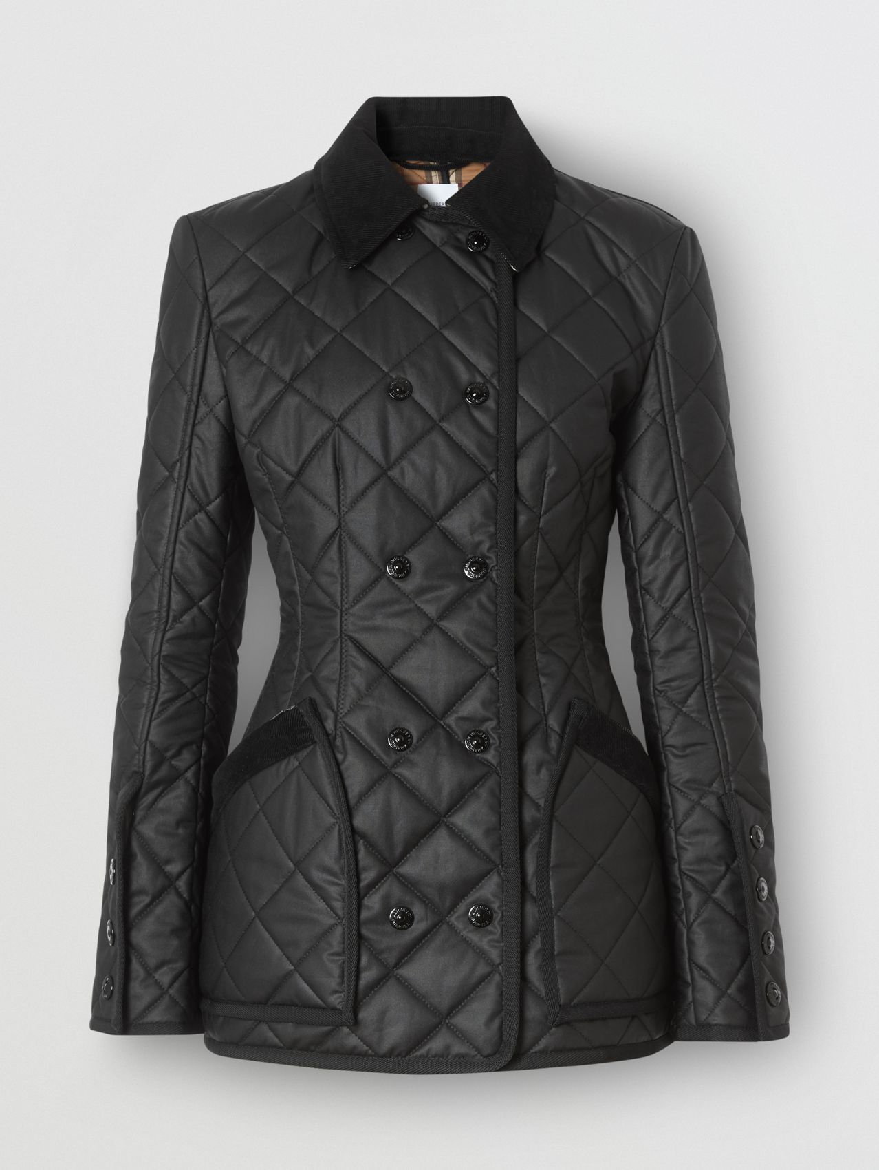 Diamond Quilted Waxed Cotton Riding Jacket in Black