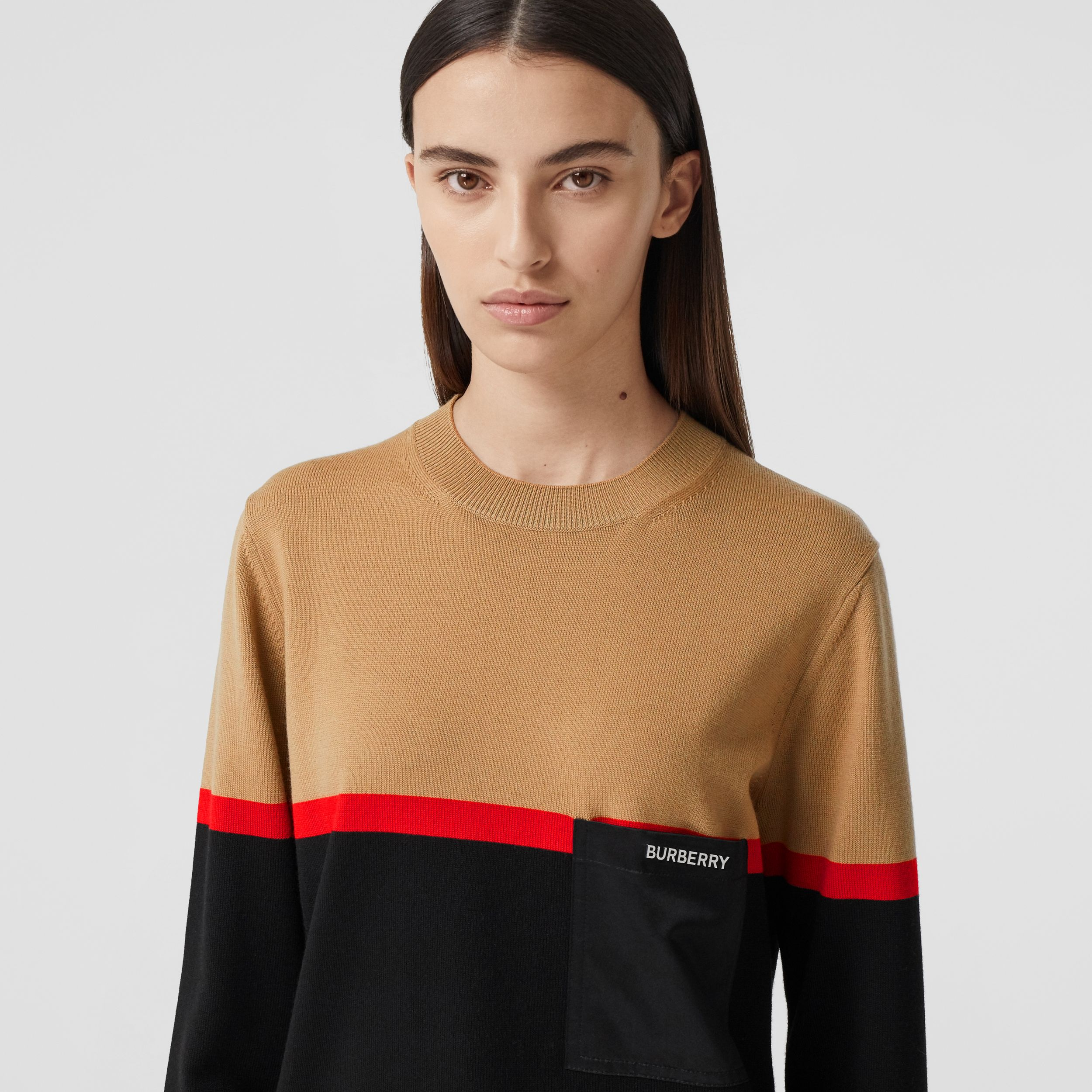 Colour Block Merino Wool Cotton Sweater in Black - Women | Burberry - 2