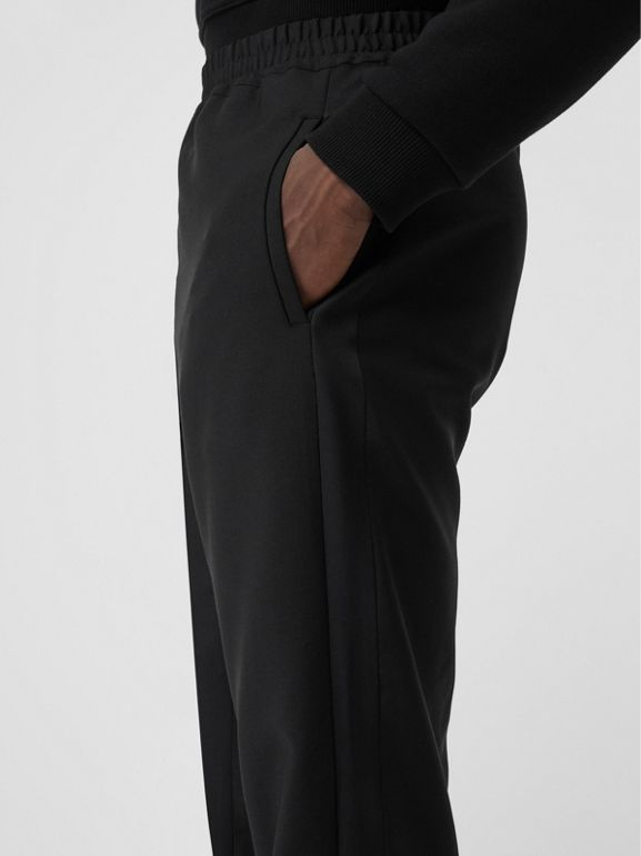 Wool Mohair Tapered Trousers in Black - Men | Burberry Singapore - cell image 1