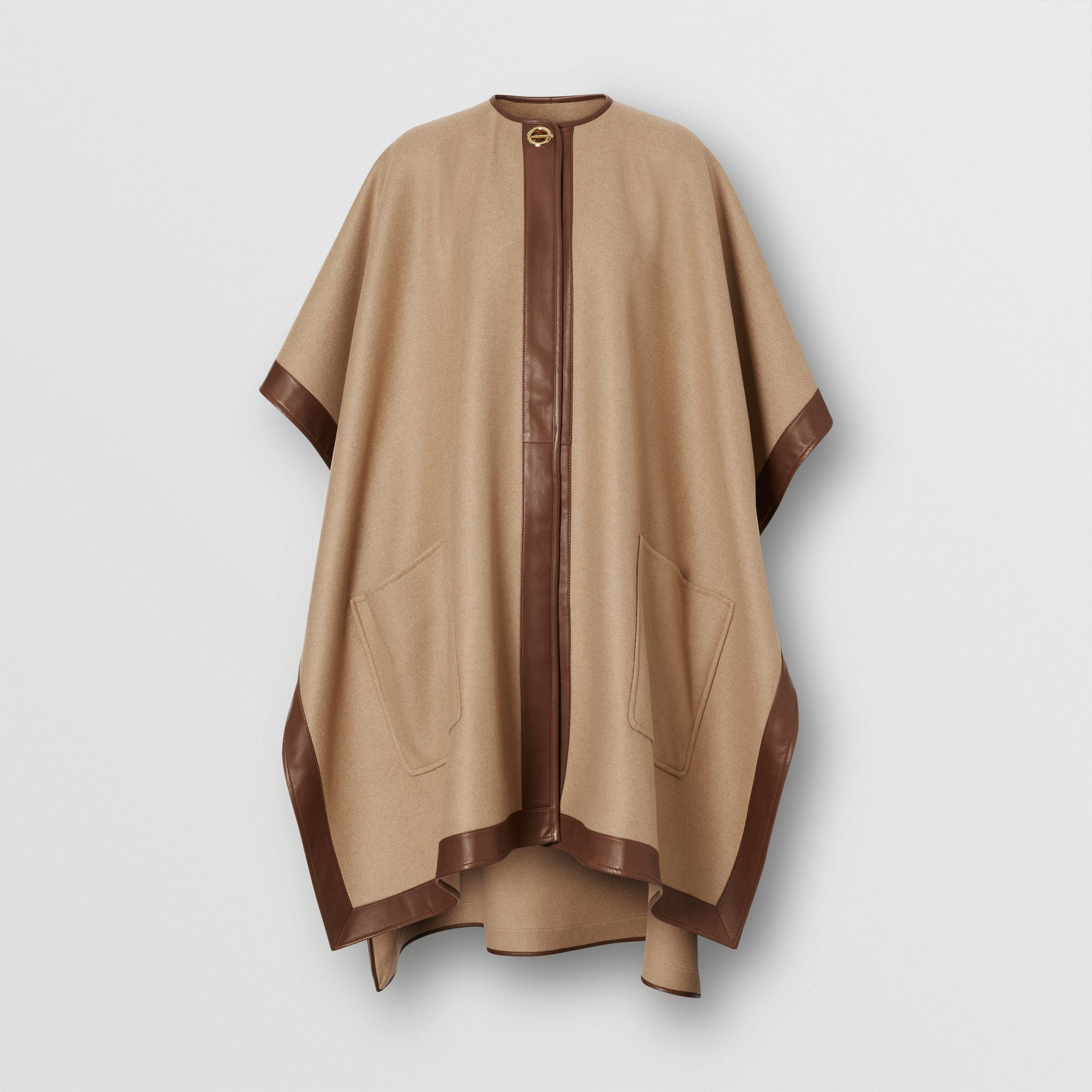 Lambskin Trim Double-faced Cashmere Cape in Camel | Burberry United Kingdom - gallery image 3