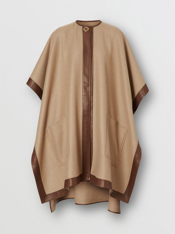 Lambskin Trim Double-faced Cashmere Cape in Camel | Burberry United Kingdom - cell image 3