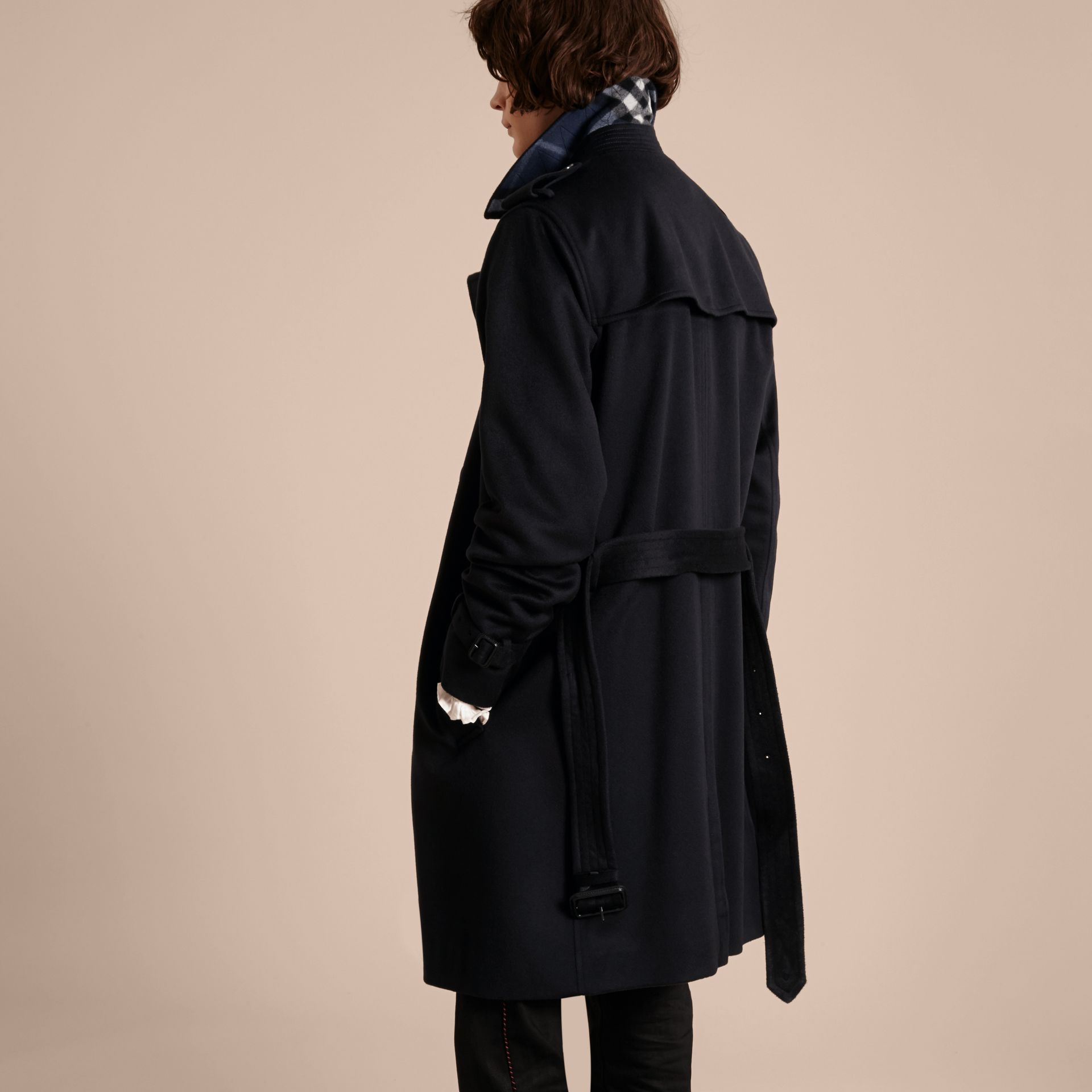 Cashmere Trench Coat Navy - gallery image 3