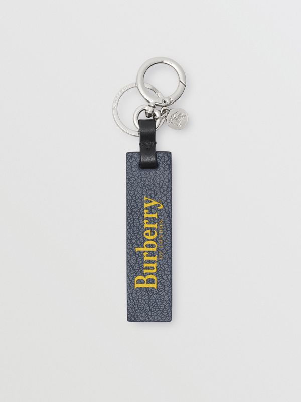 Logo Print Leather Key Ring in Storm Blue/antique Green - Men | Burberry United States - cell image 2