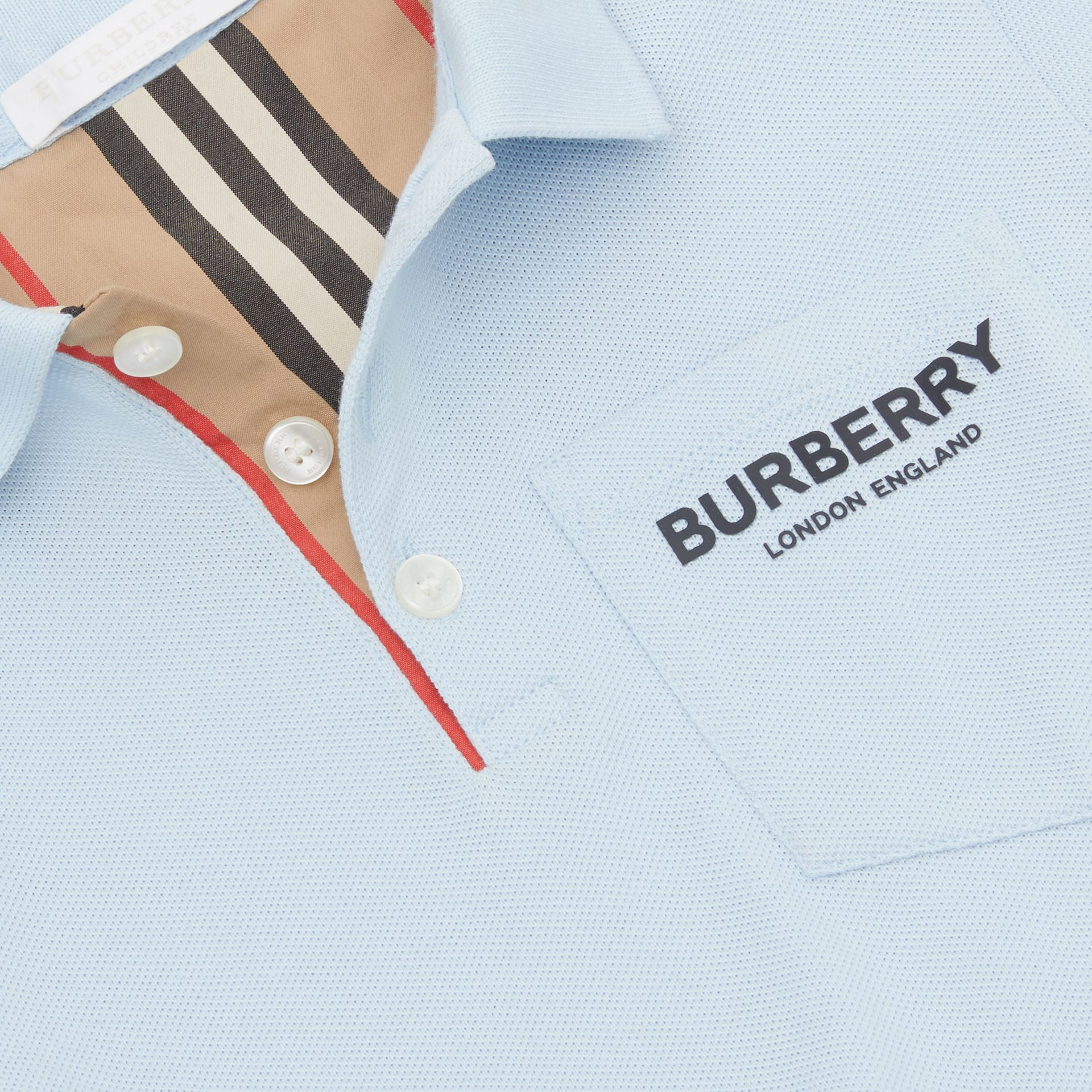 Icon Stripe Placket Cotton Piqué Polo Shirt in Light Blue | Burberry - gallery image 1
