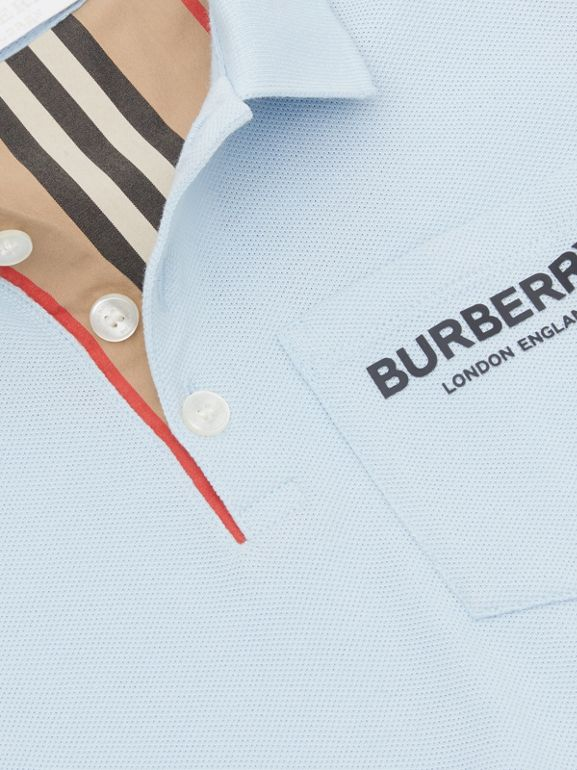 Icon Stripe Placket Cotton Piqué Polo Shirt in Light Blue | Burberry United States - cell image 1