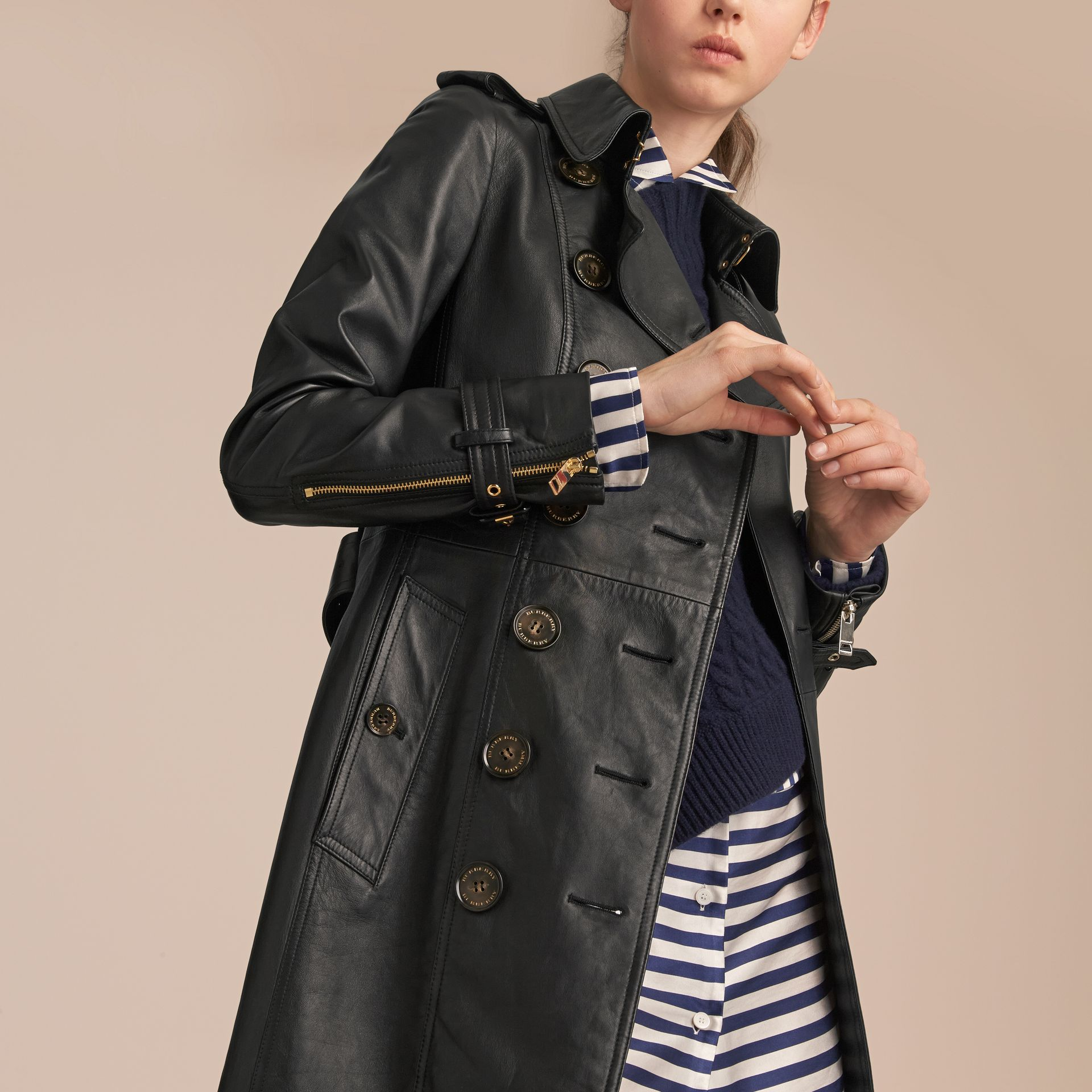 Lambskin Trench Coat in Black - Women | Burberry Australia - gallery image 5