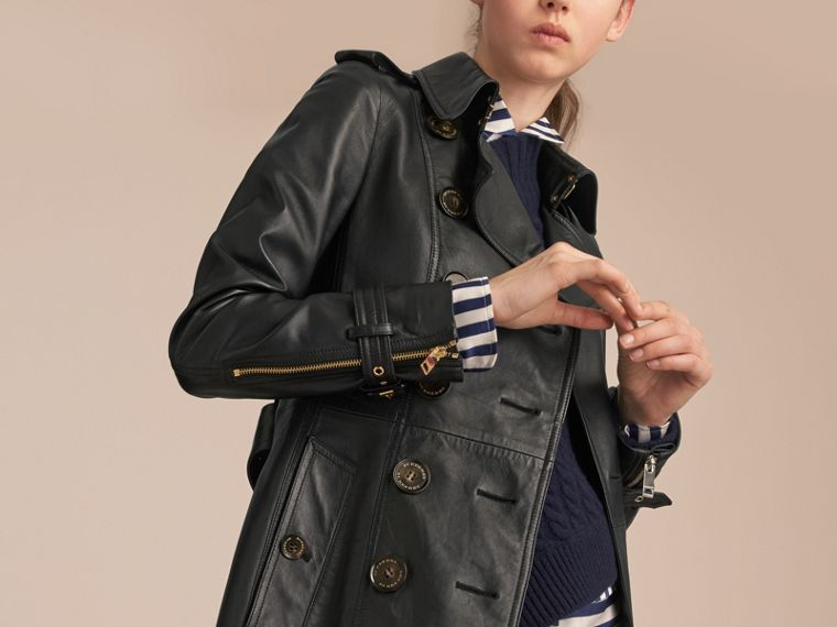 Lambskin Trench Coat in Black - Women | Burberry Australia - cell image 4