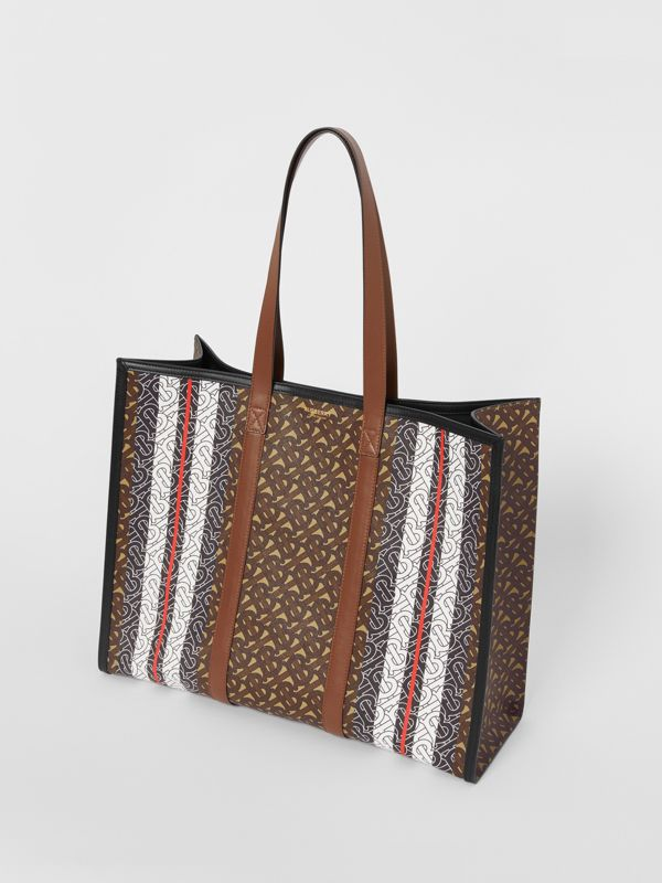 Monogram Stripe E-canvas Tote Bag in Bridle Brown - Women | Burberry - cell image 2