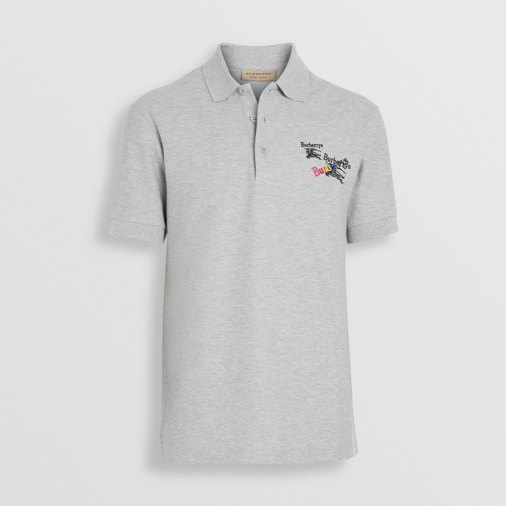 Triple Archive Logo Cotton Piqué Polo Shirt in Pale Grey Melange - Men | Burberry Australia - gallery image 3