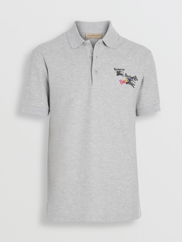 Triple Archive Logo Cotton Piqué Polo Shirt in Pale Grey Melange - Men | Burberry Singapore - cell image 3