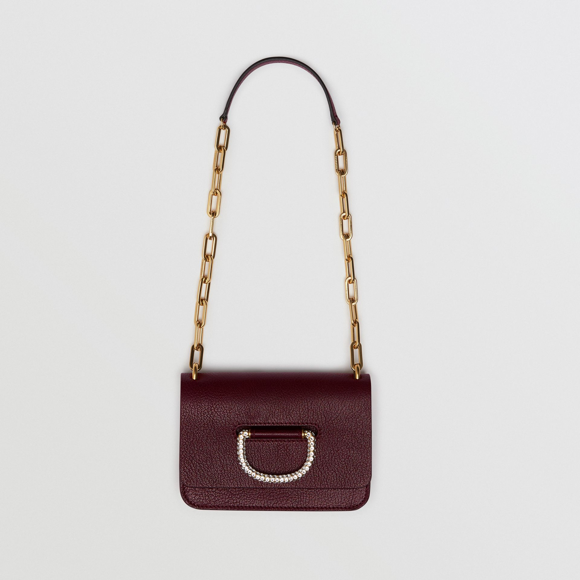 The Mini Leather Crystal D-ring Bag in Deep Claret - Women | Burberry United Kingdom - gallery image 2