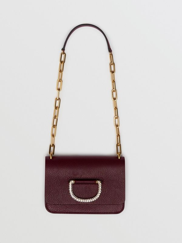The Mini Leather Crystal D-ring Bag in Deep Claret - Women | Burberry Australia - cell image 2