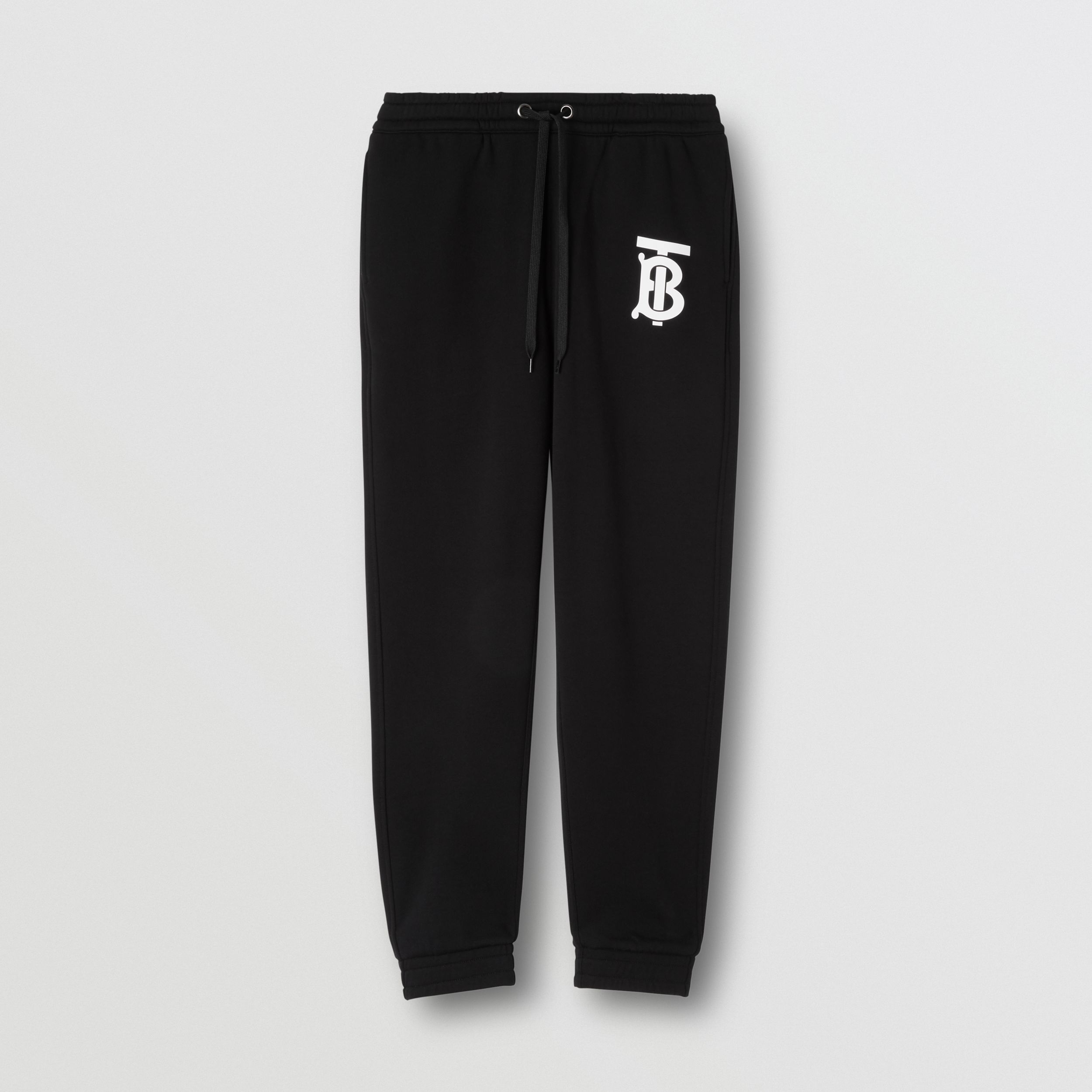 Monogram Motif Cotton Jogging Pants in Black - Women | Burberry - 4