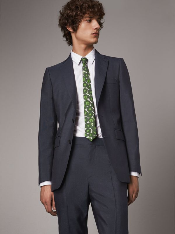Slim Cut Abstract Floral Print Silk Tie in Tourmaline Green - Men | Burberry - cell image 2