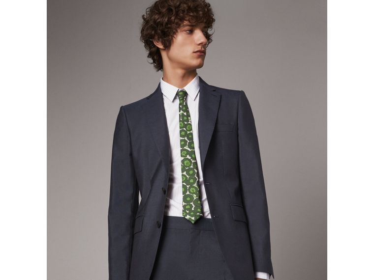 Slim Cut Abstract Floral Print Silk Tie in Tourmaline Green - Men | Burberry Singapore - cell image 2
