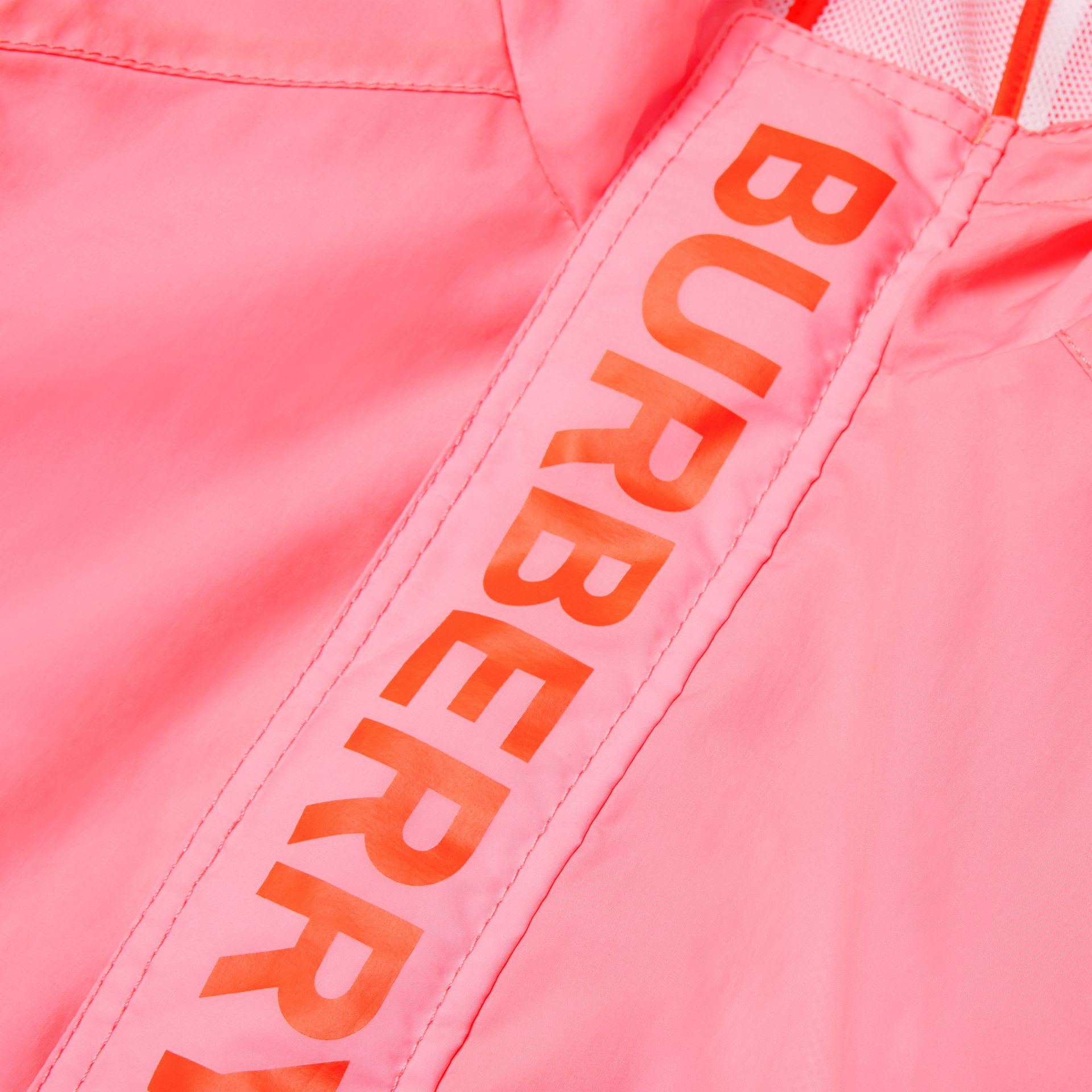Logo Print Lightweight Hooded Jacket in Bright Rose | Burberry - gallery image 1