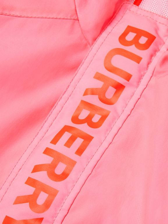 Logo Print Lightweight Hooded Jacket in Bright Rose | Burberry - cell image 1