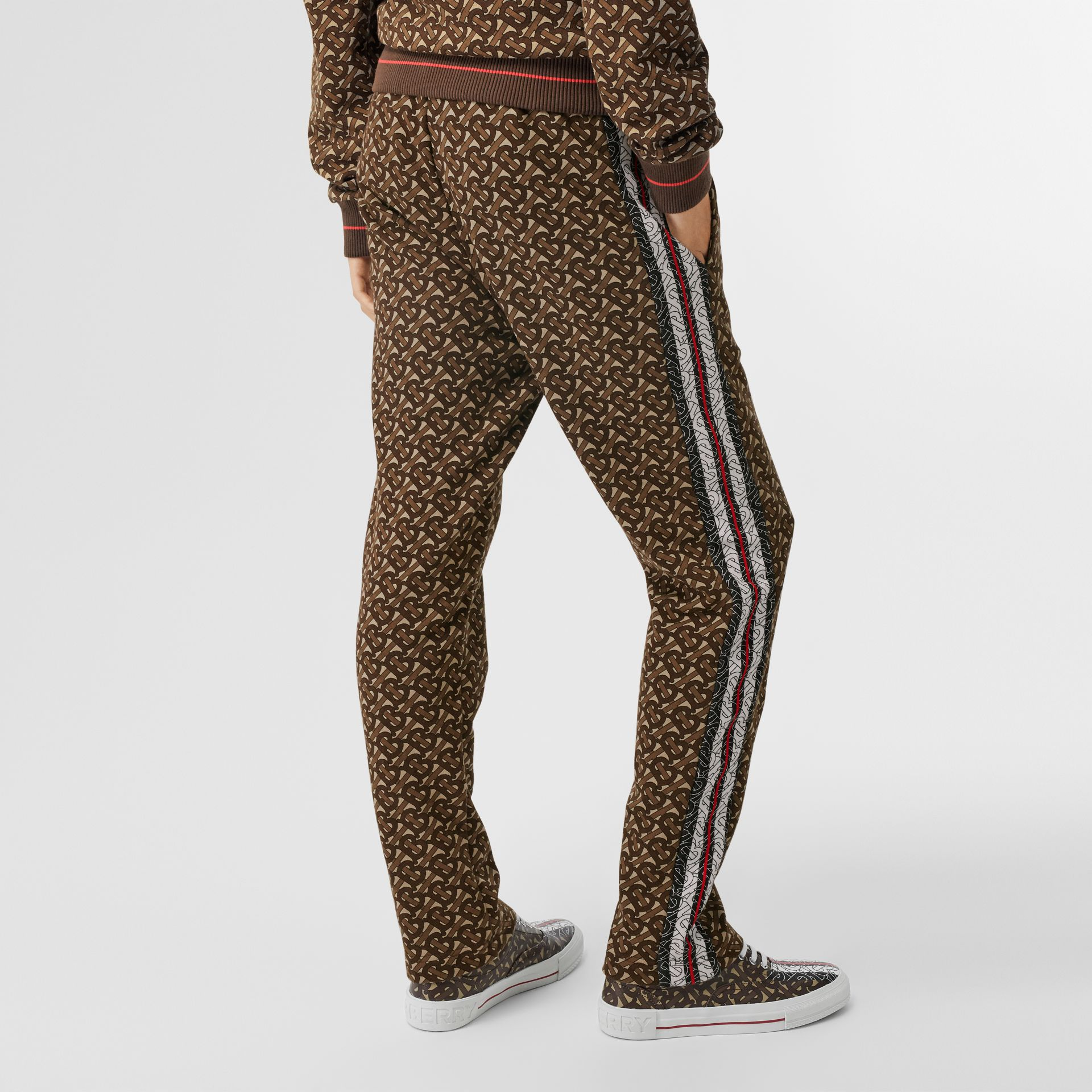 Monogram Stripe Print Cotton Trackpants in Bridle Brown - Women | Burberry Canada - gallery image 1