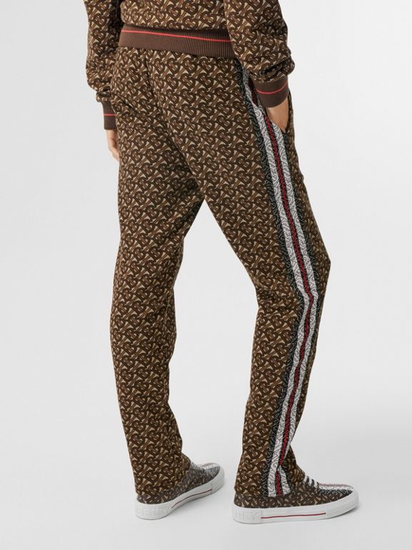 Monogram Stripe Print Cotton Trackpants in Bridle Brown - Women | Burberry Canada - cell image 1