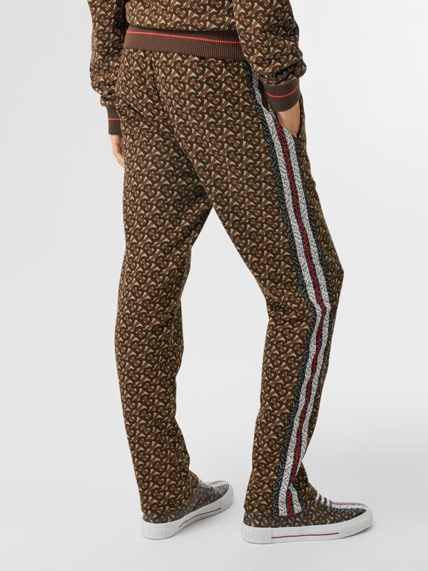 Monogram Stripe Print Cotton Trackpants in Bridle Brown - Women | Burberry United Kingdom - cell image 2