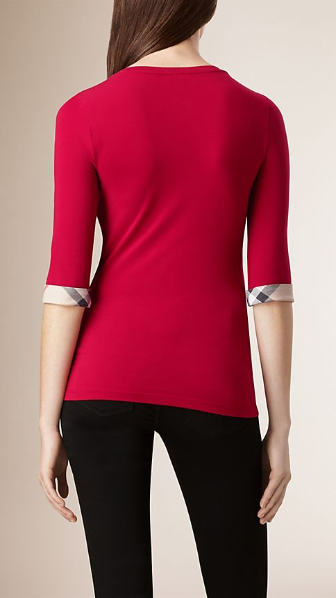Lacquer red Check Cuff Stretch-Cotton Top - Image 2