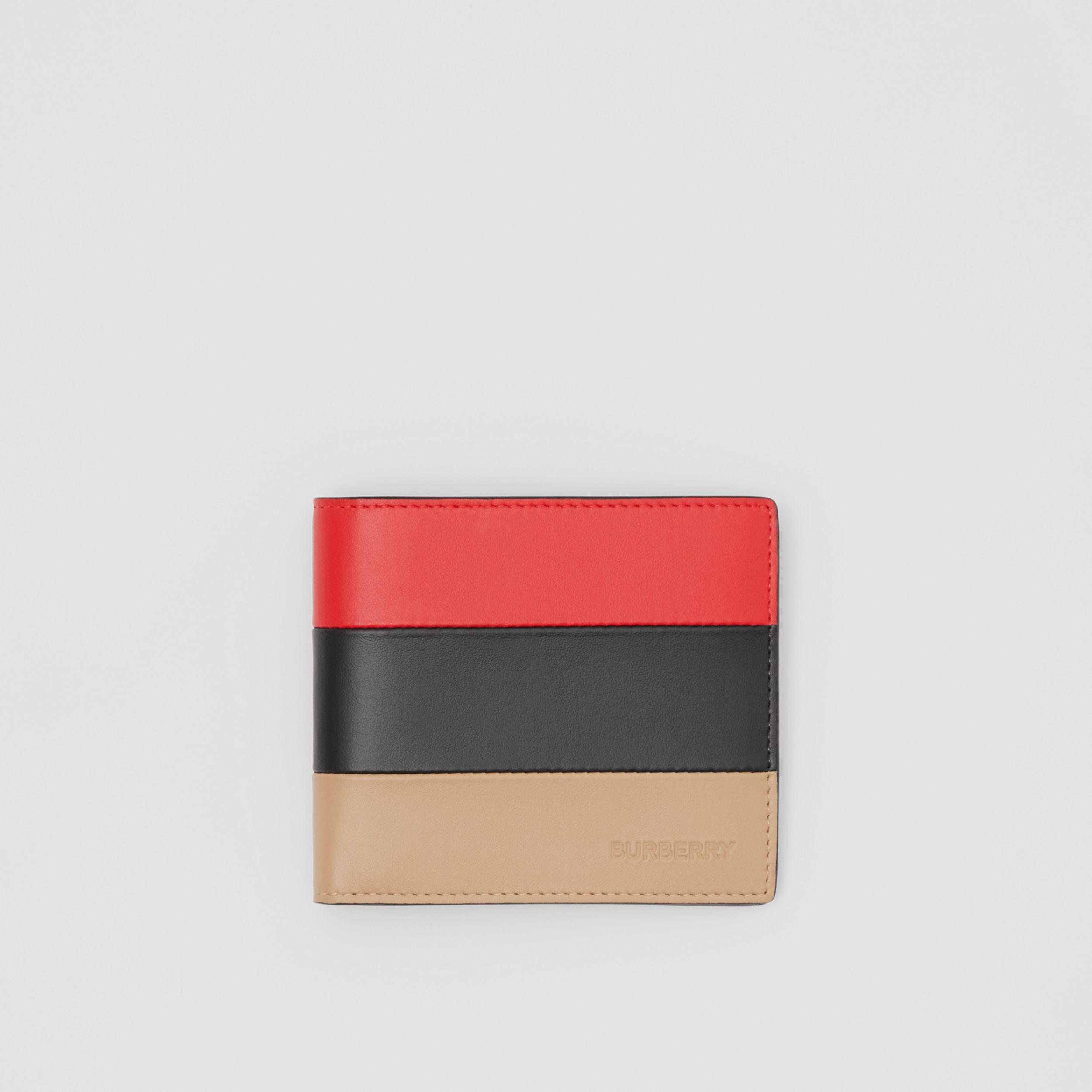 Colour Block Leather International Bifold Wallet in Red/black/beige - Men | Burberry - 1