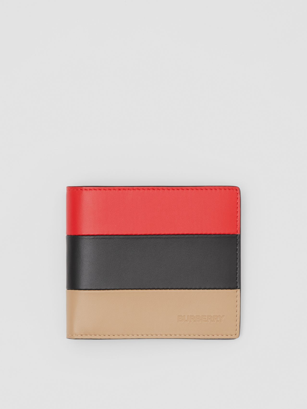 Colour Block Leather International Bifold Wallet in Red/black/beige