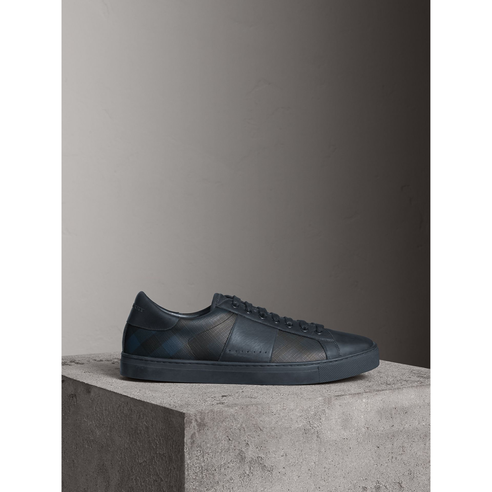 Check Detail Leather Trainers in Navy - Men | Burberry - gallery image 5