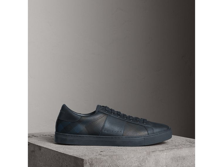 Check Detail Leather Trainers in Navy - Men | Burberry - cell image 4