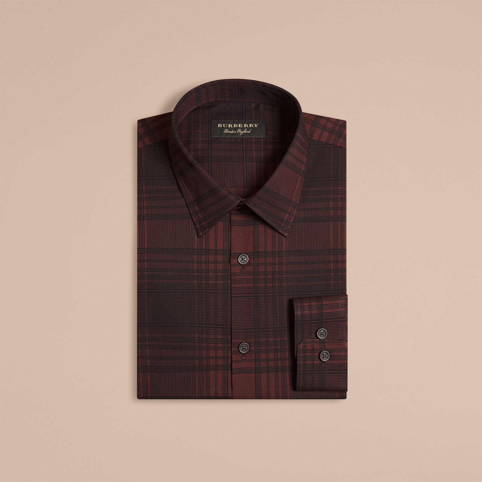 Crimson red Check Lightweight Cotton Silk Shirt Crimson Red - gallery image 4