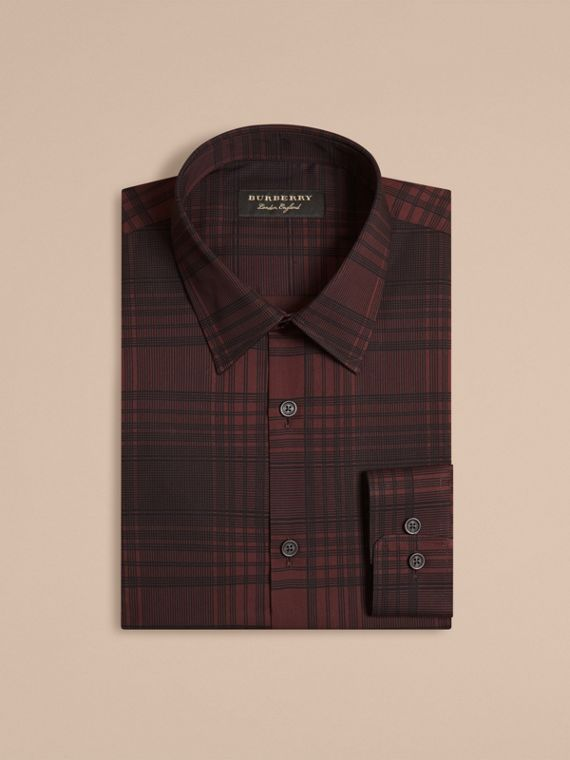 Crimson red Check Lightweight Cotton Silk Shirt Crimson Red - cell image 3