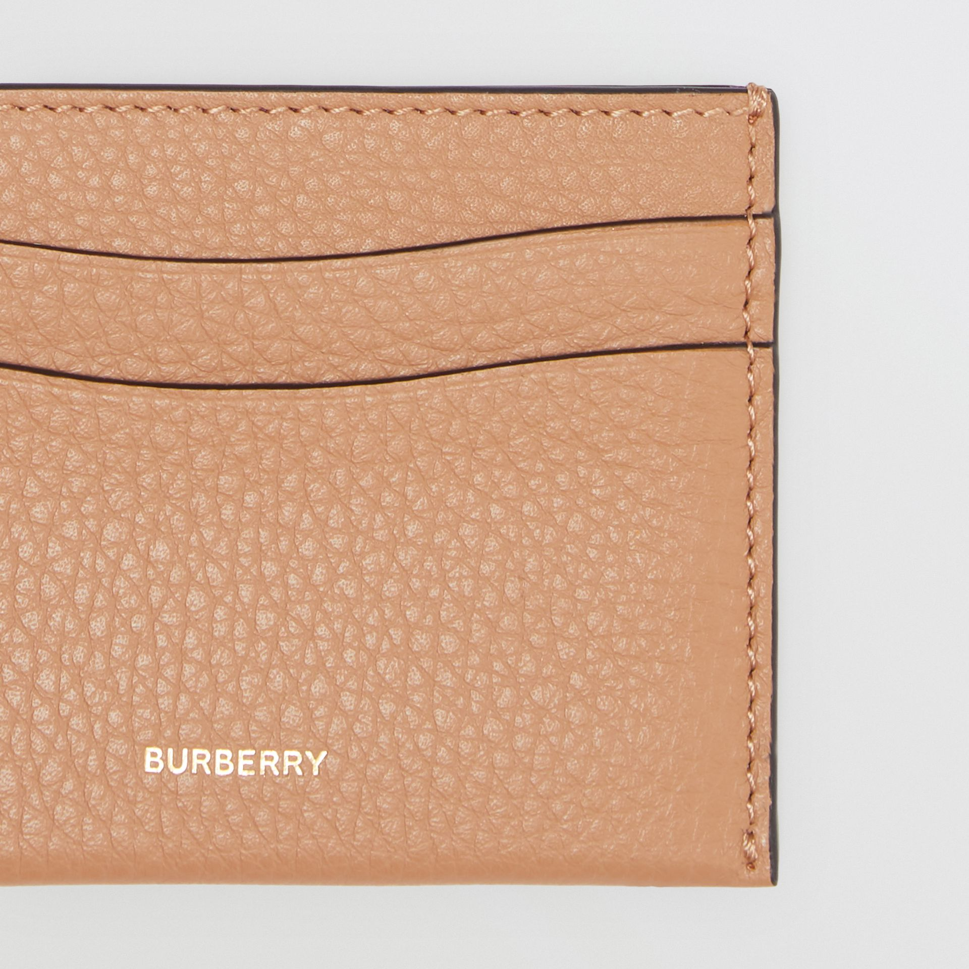 Grainy Leather Card Case in Light Camel | Burberry - gallery image 1