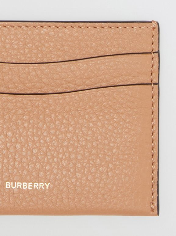 Grainy Logo Leather Card Case in Light Camel - Women | Burberry - cell image 1